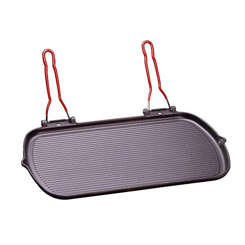 Invicta Grillpfanne TRES GRAND GRIL RECTANGLE Gusspfanne 51x27cm Doppel-Klappgriffe