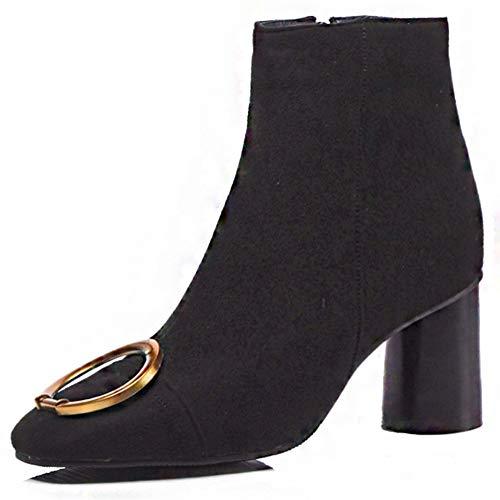 SERAPH 767 Damen Square Toe Wildleder Metallic Blockabsatz High Heels Chelsea Stiefeletten,Black,40.5EU - Black Square Toe Cowboy-stiefel
