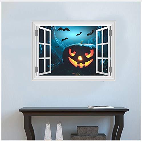 Hajksds adesivi murali parete zucca lanterna pipistrelli adesivi murali decorazione di halloween 3d falso finestra casa decalcomanie diy festival di arte murale poster regalo per bambini