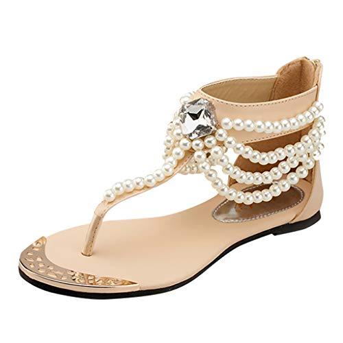 Damen Sandalen Flach, Plot Sommer Boho Still Zehentrenner Sandaletten mit Strass Klassisch Flip Flops Strand Schuhe Größe 35-40 - Clubwear Strass