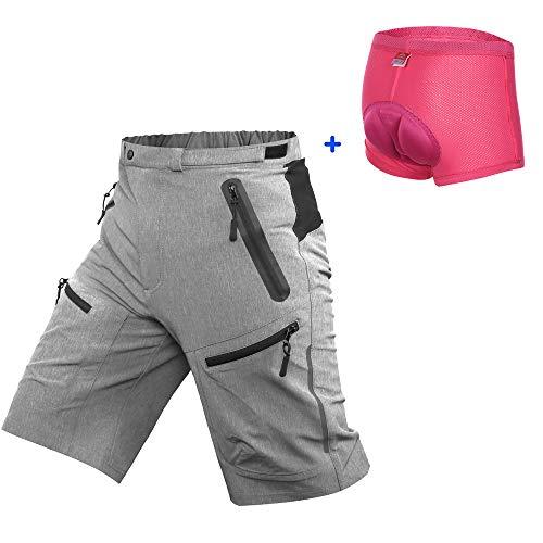 Cycorld Damen MTB Hose, Bike Hose für Damen (Grau mit Unterwäsche, S/cm(Taille:82.6-87.6,Hüfte:93.5-98.5) (Bekleidung Größentabelle)