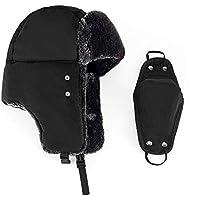LFYPSM Esquí De Actividades Al Aire Libre Gorro Grueso Y Cálido con Orejeras Y Collar para El Parabrisas,Black