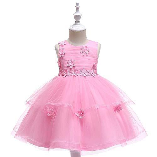 Bademode Bowknot Princess Dress Lace Mesh Blumenmädchen Kostüm Klavier Performance Kleidung 3-11Jahre Bikinis (Color : Rose, Size : 5-6Years) (Rose Princess Kostüm)