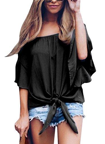 Ehpow Damen Chiffon Bluse Schulterfrei Casual Streifen T-Shirt Bluse Oberteil Top (Medium, Schwarz-2)