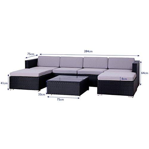 POLY RATTAN Lounge Gartenset Sofa Garnitur Polyrattan Gartenmöbel (XL, Schwarz) - 2