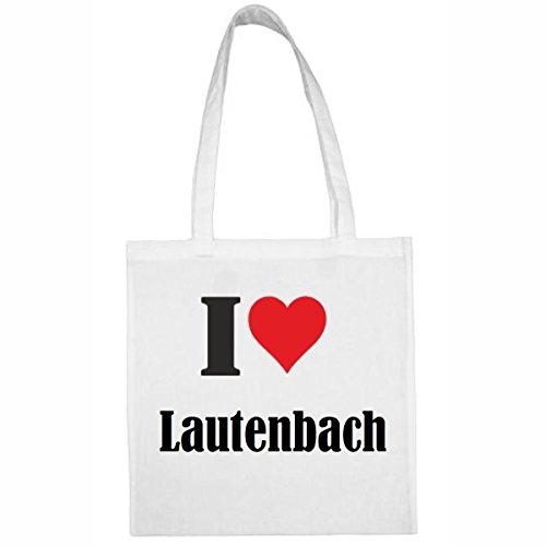 Tasche I Love Lautenbach Größe 38x42 Farbe Weiss Druck Schwarz