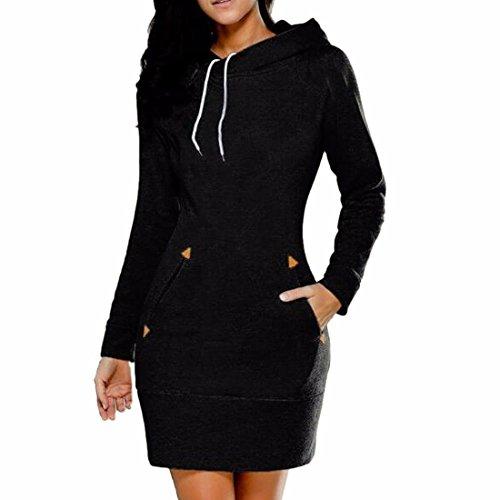 QIYUN.Z Femmes Slim Fit Hoodies Sweatshirts Longue Robe Noir