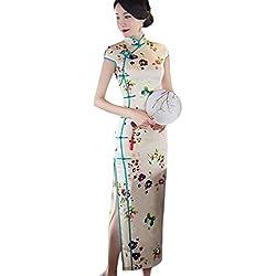 Hzjundasi Elegante Mujer Tradicional Floral Impreso Cheongsam Vestido de Noche Seda Slim Qipao Largo Vestido Robe M