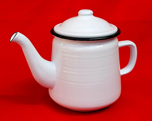 Ambiente Haus Teekanne 51228 Weiß 0,8 L emailliert 15 cm Wasserkanne Kanne Kaffeekanne