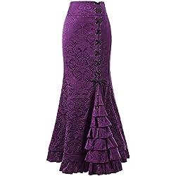LUCKYCAT Falda de Sirena Retro Estilo Punk para Mujer Falda de Cola de Pescado con Volante de Bodycon Largo Vintage (Púrpura, Medio)