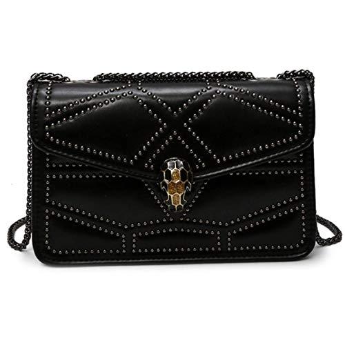 Kleine Tasche Damen Schulter Messenger Bag Mode Einfachen Brief Kleine Quadratische Tasche Handtasche 20 * 7 * 17cm,Schwarz-20 * 7 * 17cm