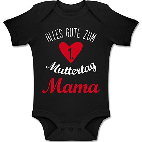Shirtracer Muttertag Baby - Alles Gute zum ersten Muttertag - 18-24 Monate - Schwarz - BZ10 - Baby Body Kurzarm Jungen Mädchen