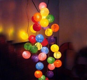 Evalent bunte Baumwollkugel 20-LED-Schnur-Lichter batteriebetriebene helle Kugel LED-Lichter handgemachte Baumwollkugeln feenhafte Schnur-Lichter Hauptdekor