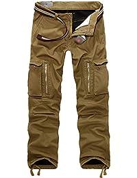 a1f53fb3950fc Cayuan Pantalon Cargo de Travail Hommes Coton Multipoches Pantalons avec  Chaud Cachemire Doublure Automne Hiver/