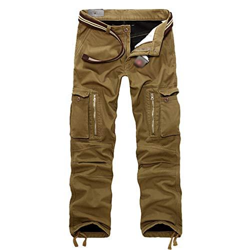 Cayuan Herren Cargohose Freizeithose mit Multi-Tasche Warmer Fleece Gefüttert Cargo Hosen Outdoor Tactical Hose Khaki -