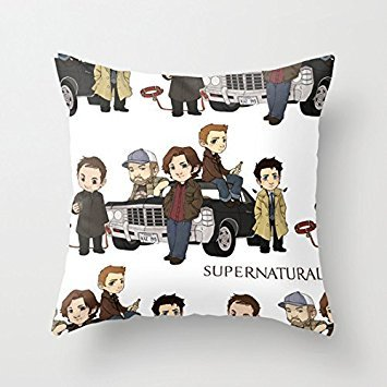 Home Style diylancas Cotton Linen Throw Pillow Cover Cushion Case Cast of Supernatural - 45 X 45 cm Square Design - 45 Cast