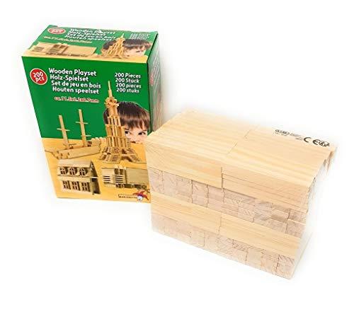 EWTG 200-teilig Holzbausteine Holzbauklötze für Kleinkinder Kinder ab 6 Monate