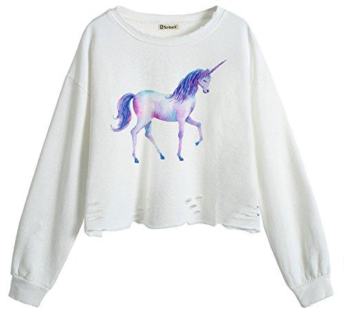 7d958b440f6f So each Women s Cute Unicorn Animal Crop Tops Hole Pullover Midriff  Sweatshirt
