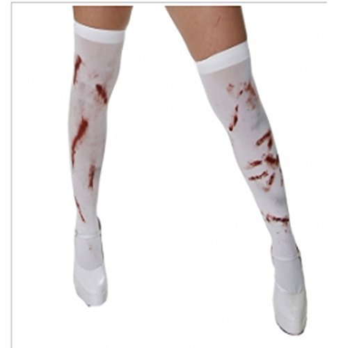 Halterlose Kostüm Strümpfe (Halloween Kostüm Maske Party Kostüm Weiß Blutig Halterlose)