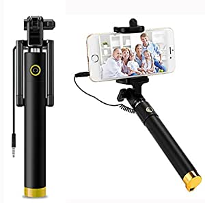 AUX MART Ultra Portable Wired Selfie Stick - Compatible with Moto G4 No Battery Charging Premium & Sturdy Design Best Pocket Sized Cable Monopod