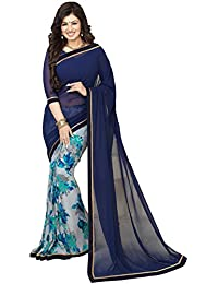 Nirjas Designer Women's Chiffon Saree With Blouse Piece (Newvinay Navy_A_Blue)