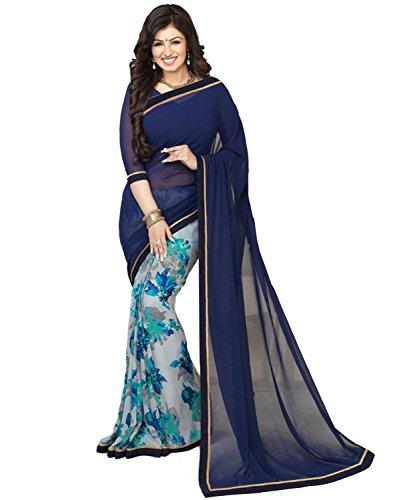 Nirjas Designer Women's Chiffon Saree With Blouse Piece (Newvinay Navy_A_Blue)