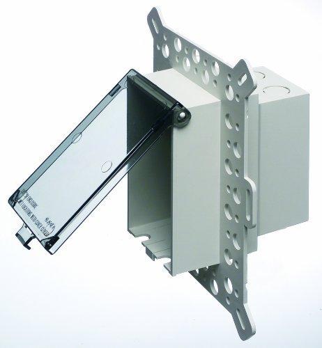 Arlington DBVM1C-1 Electrical Box with Weatherproof Cover for Textured Surfaces/Rigid Siding/Stucco, New-Construction, Clear, Vertical/1-Gang by Arlington Industries - Na Electrical Box Cover