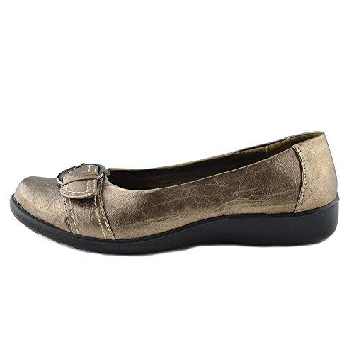 Kick Footwear - Donna Womens Flat Ufficio Casual Nero Bronzo Comfort A Piedi Scarpe Bronzo -2