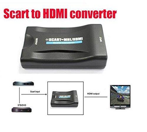 BW Scart zu HDMI Video Audio Upscaling Konverter AV Signal Adapter HD Receiver TV DVD Sky Box UK/EU POWER PLUG (Hd Box Sky Uk)