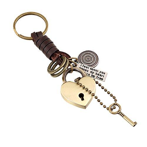 GoGou Punk Leder Schlüsselanhänger: Klassische Liebe und Schlüssel-hängende Schmucksache-Metallschlüsselanhänger Retro