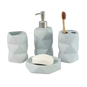 4piezas de cerámica juego de accesorios baño geométrico pato huevo azul