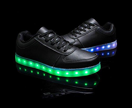 Feicuan Unisex LED Leuchtend USB Aufladen Turnschuhe Trainers Couples Schuhe Black