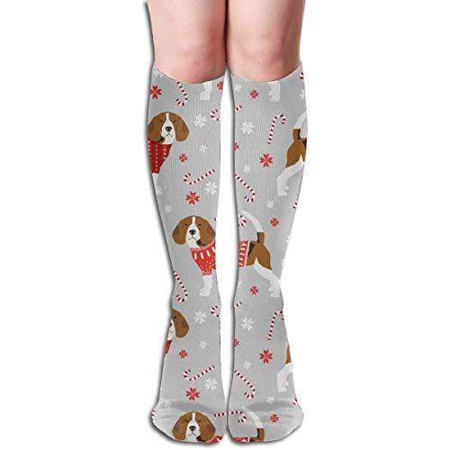 ZENGYAN Beagle Christmas Sweater Peppermint Stick Candy Cane Snowflakes Dog Men's Women's Cotton Crew Athletic Sock Running Socks Soccer Socks 19.7 inch