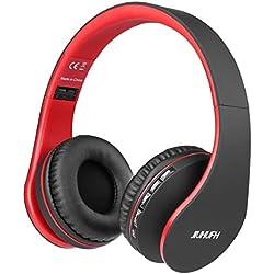 JIUHUFH Casque Bluetooth sans Fil Pliable avec Micro Intégré/Micro SD/TF/FM Radio/Lecteur MP3/Audio 3,5 mm pour iPhone Android Téléphones/Tablettes/TV/PC/Mac (Rouge)