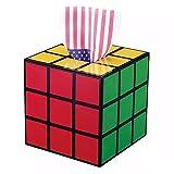 luckyNO.1 Caja de Pañuelos Cubo de Rubik, plástico con Tapa, artículos creativos para el hogar, Escritorio, Bandeja, Negro