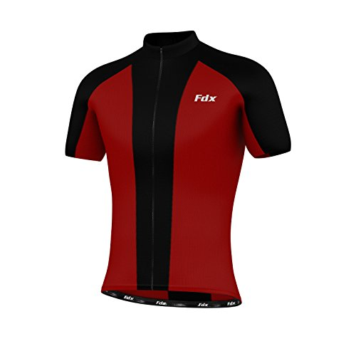 FDX Mens Cycling Jersey Half Sleeve Biking Top Outdoors Sportswear Bike Shirt (Red & Black, Large)