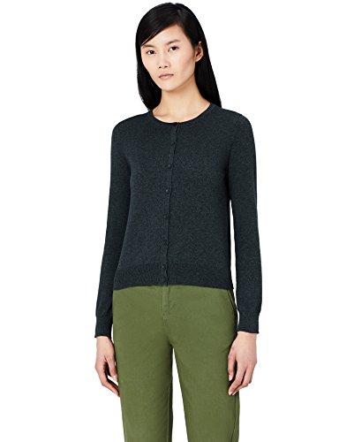 MERAKI Baumwoll-Strickjacke Damen mit Rundhals, Grau (Charcoal), 36 (Herstellergröße: Small)