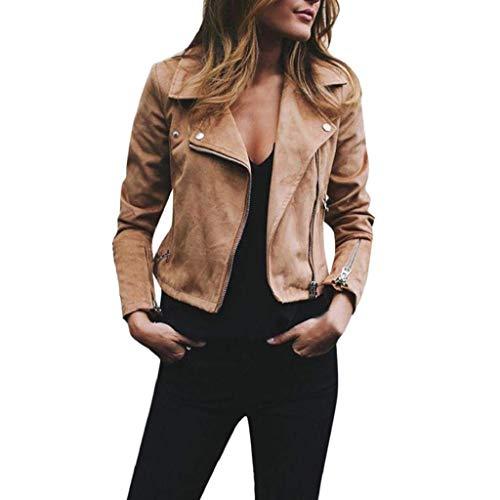 ShallGood Donna Giacche Rivetto Ecopelle Manica Lunga con Cerniera Cappotto di personalità Parka Cappotto Corto Pelle Sintetica PU Jacket Vintage