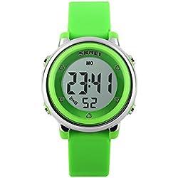 Klassisch Gelee Kolorit Kalender Alarm Multifunktional Armbanduhr Leuchtuhr Uhr Für Kinder, Grün
