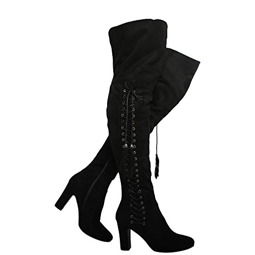 new womens ladies high block heel over the knee lace up boots size 3-8