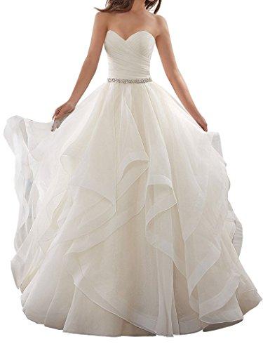 APXPF Damen Organza kräuselt Kleid Ballkleid Brautkleider Braut 8 Weiß