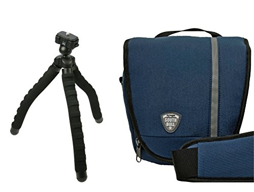 Foto Kamera Tasche SOUTHBULL COLT Cord blau Set mit Reise-Stativ Suoerflex