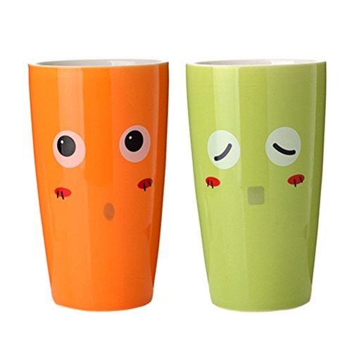Lot de 2 dents Tasse Brosse ?dents Dentifrice Holder Accessoires, Orange / Vert