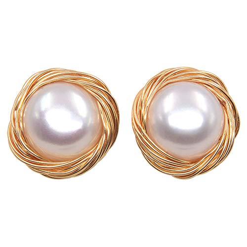 CLETPY S925 Sterling Silber Ohrringe, Handgemachte Wrap Ohrringe, Natürliche Süßwasserperlen Ohrringe Hypoallergen 9Mm (Weißgold Ohrringe Empfindlich)