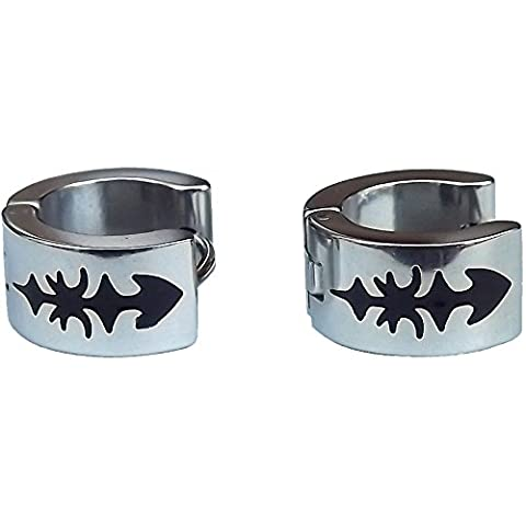 Cameleon-Shop - Ohrringe Ringe Scharnier - Edelstahl - Stammes-Schwert - Farbe Silber
