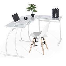 Coavas Computertisch Schreibtisch L-förmiges Weiß Glas Eckschreibtisch Großer PC Computerspiel-Schreibtisch Lehrtisch Bürotisch Home Weiß