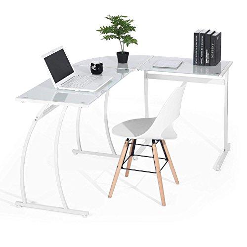 Coavas Computer Schreibtisch L-förmiges Schwarz Glas Eckschreibtisch Großer PC Computerspiel-Schreibtisch Lehrtisch Bürotisch Home Weiß
