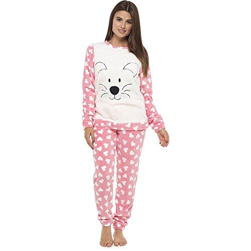 CityComfort Damen Schlafanzug Pink Teddy