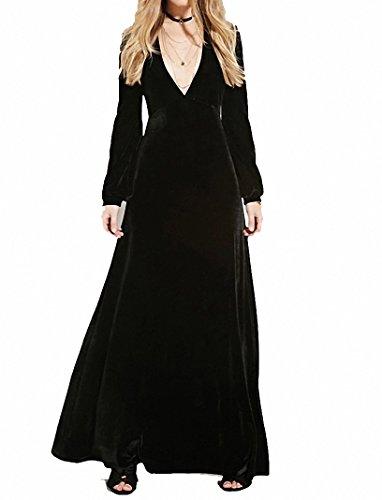 Damen Abendkleid Elegant Cocktailkleid Langarm Maxi VAusschnitt Samt Party  Kleid Schwarz