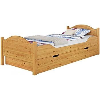 Einzelbett mit bettkasten 100x200  Massivholz-Bett Kiefer natur 100x200 Einzelbett Rollrost Matratze ...
